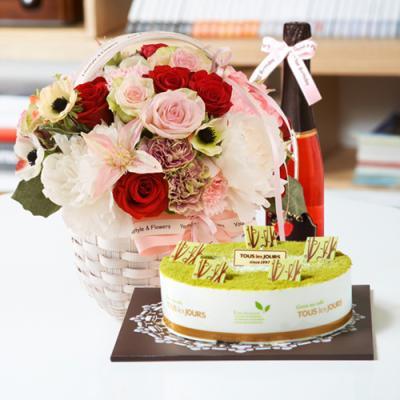 뚜레쥬르 녹차케익2호+레드마린+샴페인(꽃배달,케익배달,케익,생일선물)