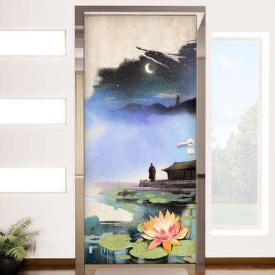 ij722-연꽃과승려_현관문시트지
