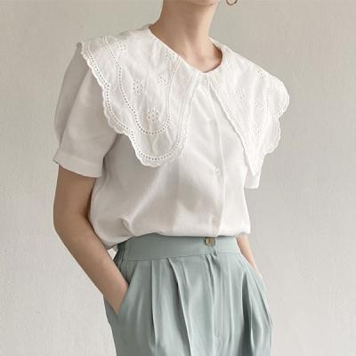 Lace Collar Puff Blouse