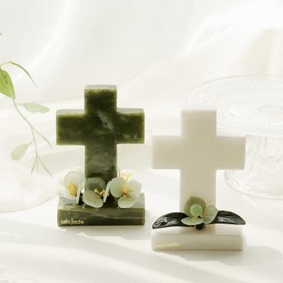 천연 옥 플라워 십자가 S/M