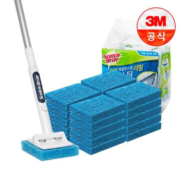 [3M]New 올인원 욕실청소용 롱핸들 크린스틱 핸들 1개+리필 21개