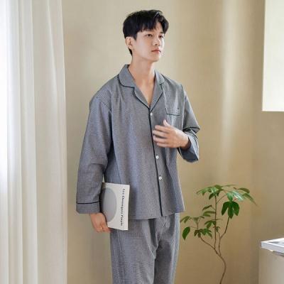 [쿠비카]잔잔한 블랙체크 포켓 카라넥 남성잠옷 M197