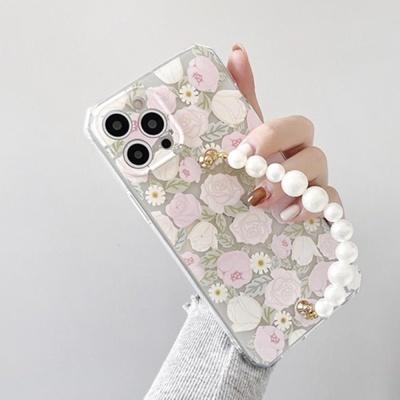 아이폰12 11 pro max xs 8 7 로즈 진주 스트랩 케이스