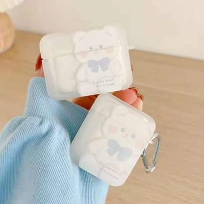 에어팟 프로 2 1 리본 곰돌이 투명 젤리 하드 케이스