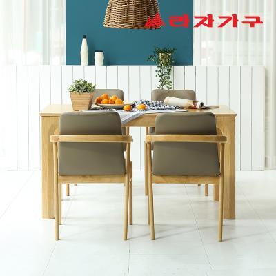 미농 고무나무 원목 식탁 세트 4인용 의자형 A