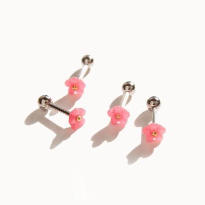 제이로렌 P0368 핑크 미니꽃 피어싱