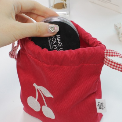 red cherry pouch
