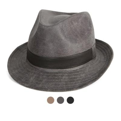 [디꾸보]크랙 배색 띠 페도라 모자 JAN349