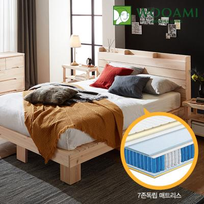 [우아미] 힐링 편백 수납 원목 침대,7존독립매트 K