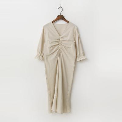 Linen Cotton String V-Neck Dress