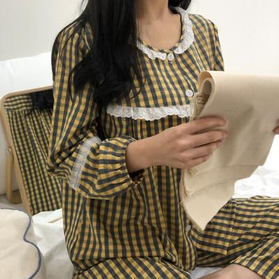 체크 레이스 데일리 파자마세트 잠옷
