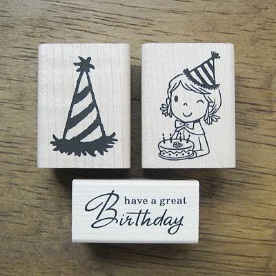 [축하]생일축하 스탬프세트(생일모자)