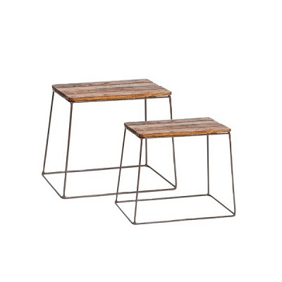 [Hubsch]Stool w/steel legs, square, wood, set of 2 316017 스툴세트