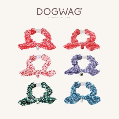 [도그웨그 DOGWAG] 강아지&고양이 패턴 방울 리본 목걸이