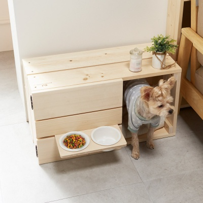 반려동물 원목 하우스 반려동물 식탁 식기