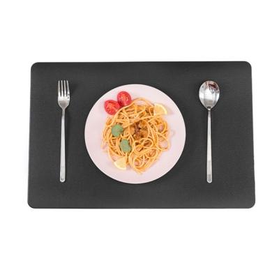 더테이블 가죽 식탁매트 방수 사각 플레이팅(블랙)