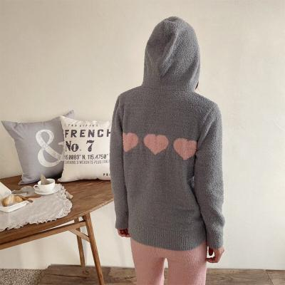 Very Soft Home Heart Hood Zip-Up - 극세사