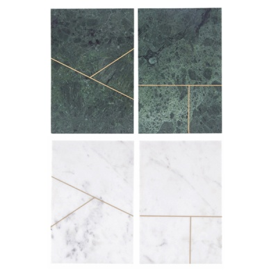 [House Doctor]Plate Marble green marble 2 prints square 사각 대리석 보드