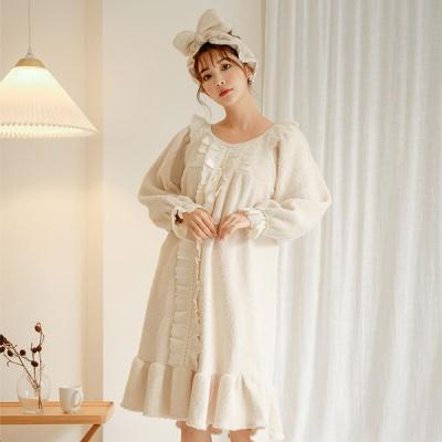 [쿠비카]인조양털 셔링 원피스 여성잠옷 W532