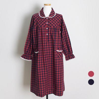 [쿠비카]프릴소매 체크 카라형 원피스 커플잠옷 WM164
