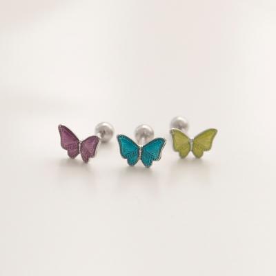 제이로렌 P0377 에나멜 형광 나비 써지컬 피어싱