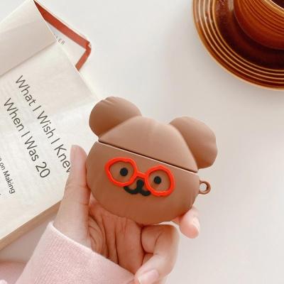 에어팟 프로 1 2 3세대 안경쓴 곰돌이 실리콘 케이스