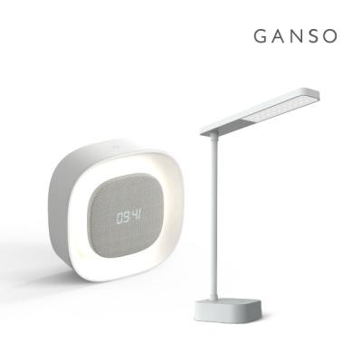 간소 충전식 무선 LED 스탠드 + LED 알람시계