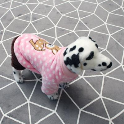 [펫딘]사슴 똑딱이 배색 강아지옷 올인원 핑크