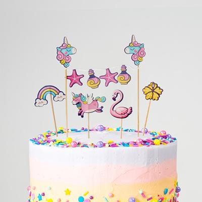 핑크나라 유니콘 케이크 토퍼&픽 set