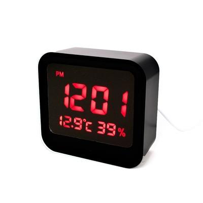 블랙 심플 사각 LED 디지털시계