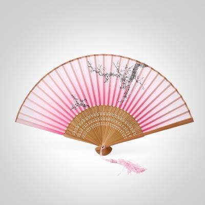 다홍 대나무 접이식 매화 부채(핑크)