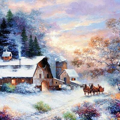 1014조각 직소퍼즐▶ 눈 내린 저녁마을 풍경 (LA1014-021)