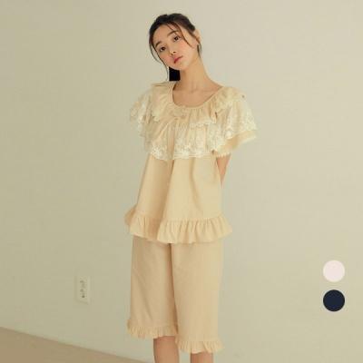 [쿠비카]프리미엄 레이스 5부 투피스 여성잠옷 W741