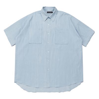CB 헤비 오버 데님 숏 셔츠 (라이트 데님)