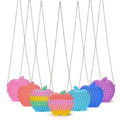 귀여운 사과 푸쉬팝 체인 크로스 백 실리콘 팝잇 가방