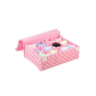 키친아트 속옷정리함 땡땡이 핑크(덮개12칸)
