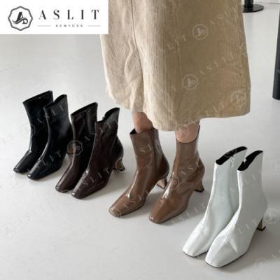 [애슬릿]여성 스퀘어토 지퍼 앵클 숏 부츠 힐 5cm