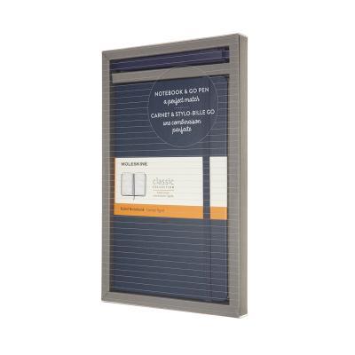 몰스킨[번들-세로형]사파이어블루 룰드L+고 펜 1.0mm