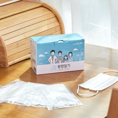 청정일기 일회용마스크 개별포장 화이트 40매