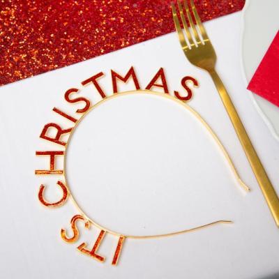 [빛나파티]레드글리터 크리스마스 헤드밴드 CHRISTMAS