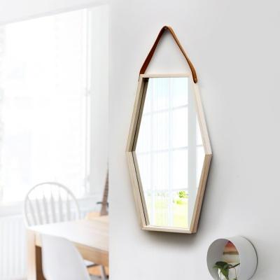 우드 육각거울 헥사곤 스트랩거울