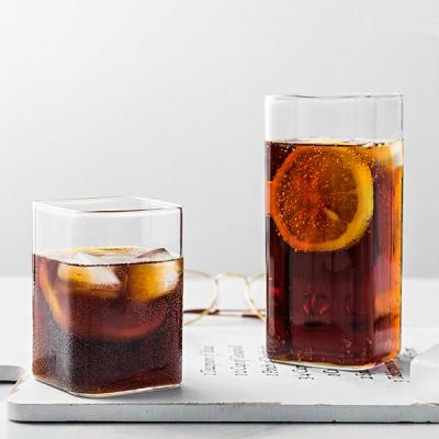 인블룸 북유럽스타일 로고 투명 유리 사각형컵