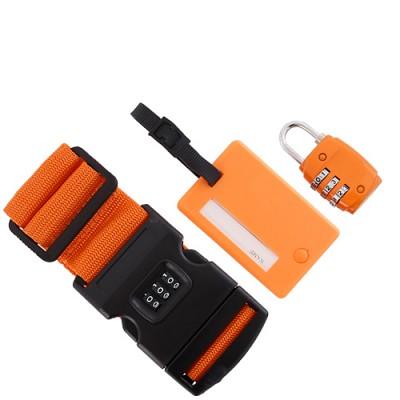 여행가방소품 3종세트 - 다이얼가방벨트+다이얼자물쇠+네임택 - 오렌지