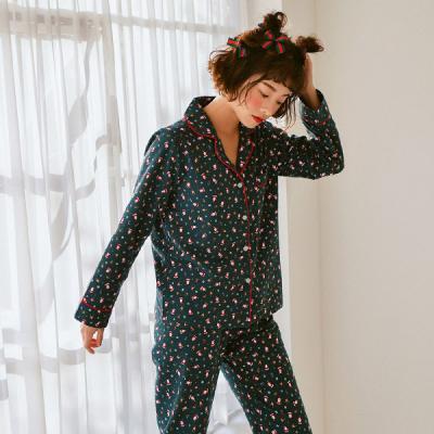 [쿠비카]기모 긴소매 카라형 투피스 여성잠옷 W399