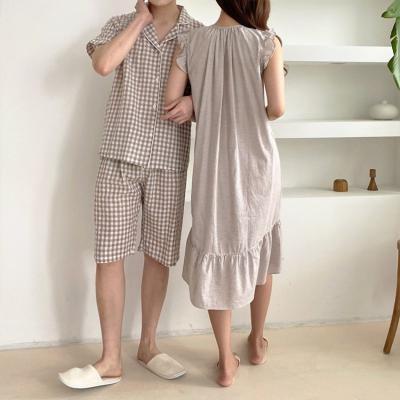 Beige Check Pajama Set - 커플룩