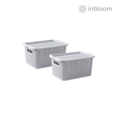 인블룸 1+1세트 커버 라탄 리빙박스 소형 그레이