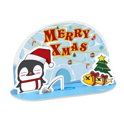 크리스마스 카드-펭귄은 선물 낚시중