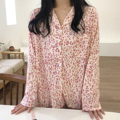 핑크 레오파드 여성 파자마 긴팔 잠옷 세트