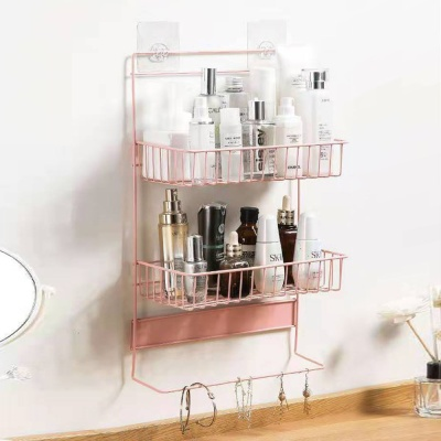 냉장고걸이 2단 스틸 수납선반(핑크) 틈새선반