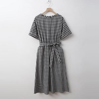 French Check Long Dress